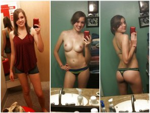 amateur photo Triple take selfie