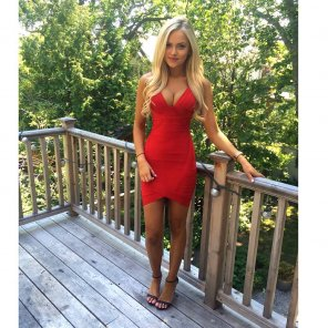 amateur photo Tight red dress