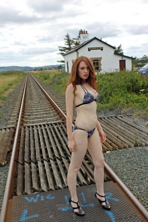 amateur photo Train-tracks and bikinis