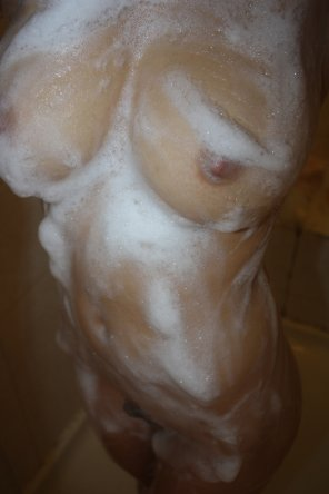 amateur photo Soaped up in the shower