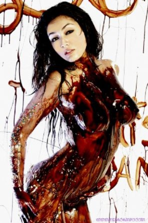 amateur photo Misa Campo covered in chocolate syrup