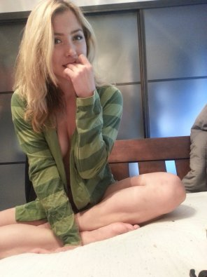 amateur photo Blonde in green sweatshirt
