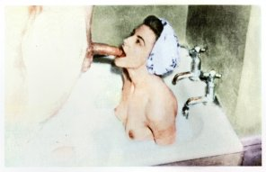 amateur photo Rub-a-dub-dub getting blown in the tub [colorized]