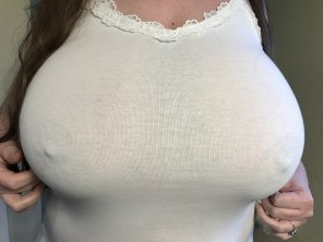 amateur photo White shirt, hard nips