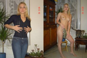 amateur photo Blonde at home