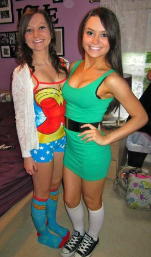 amateur photo Wonder Woman and green dress.