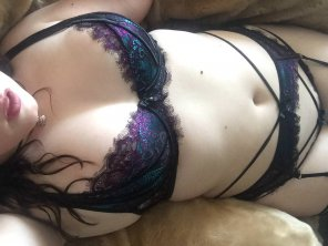 amateur photo lounging in my chair in my lingerie. [oc]
