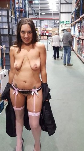 amateur photo this milf is happy nude at the store