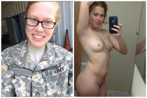 amateur photo Military Ginger Babe!