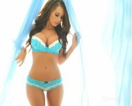 amateur photo Lacey blue lingerie.