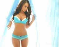 Lacey blue lingerie.