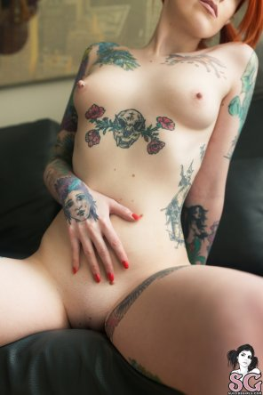 amateur photo Smooth, pale, tatted, and perky