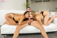 amateur photo Mia Malkova and Abby Lee Brazil tag teaming on his cock