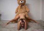 Mia Valentine and a teddy bear