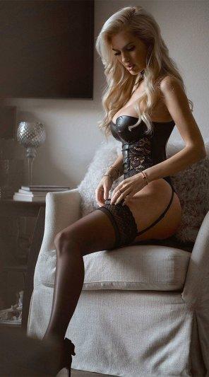 amateur photo Delicious leather corset