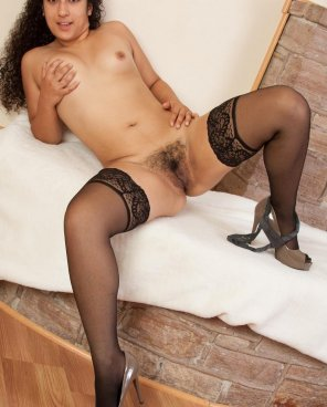 amateur photo Hairy pussy in stockings