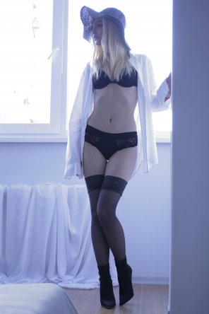 amateur photo Sheer white shirt, black thighhighs