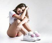 Petite teen, white sneakers
