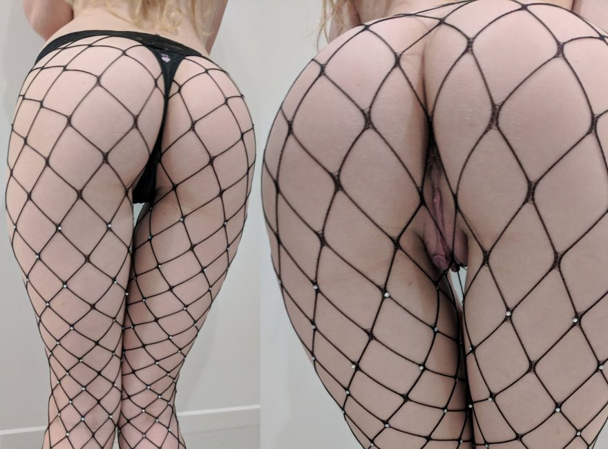[f19] Black fishnets over my little bum :) x Porn Photo