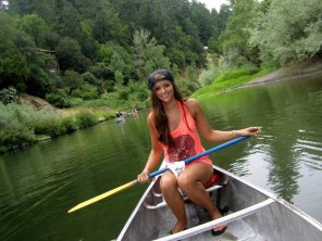 amateur photo Cutie canoeing candescently