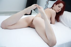 amateur photo Redhead on the bed