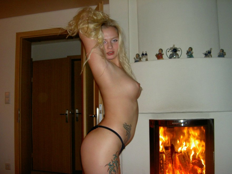 amateur photo by the fireplace