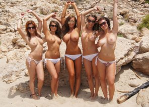 amateur photo five busty topless women