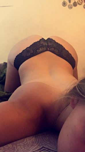 amateur photo Black lace and bent over
