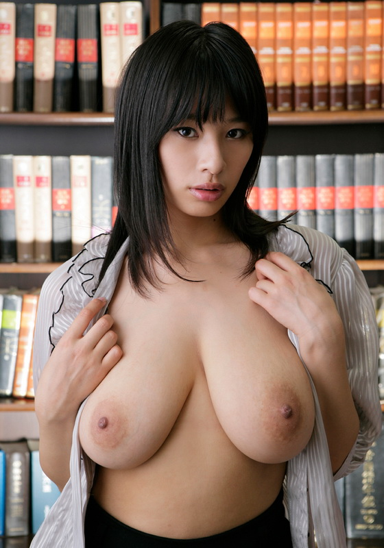 Asian big tits in library