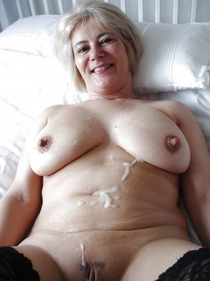 amateur photo Granny likes cum on her body