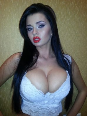 amateur photo White top and red lipstick