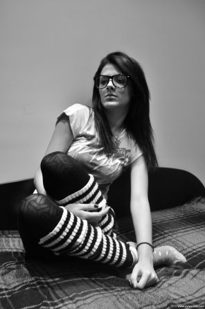 amateur photo socks over nylons