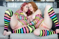 Two friends in their socks