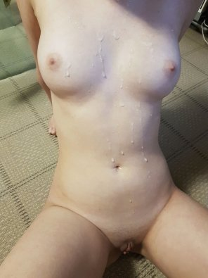 amateur photo My cum covered tits