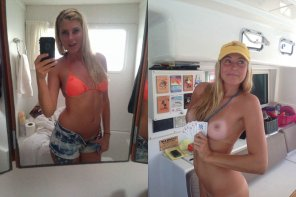 amateur photo Clothes are optional on a boat
