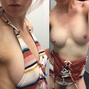 amateur photo OnOff in the dressing room, did my nipples show too much in this top? Album in comments
