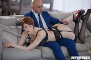 amateur photo Short haired redhead is disciplined