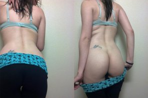 amateur photo Yoga pants on and off