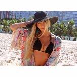 amateur photo Blonde on beach with black bikini