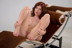 amateur photo Pretty Redhead with her Knees Up