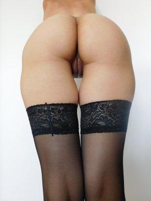 amateur photo My gap in black stockings