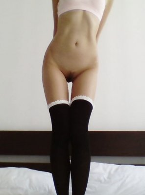 amateur photo Think my thigh highs will keep me warm enough?