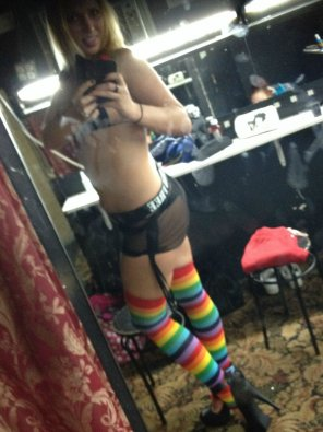 amateur photo Long Legs in Rainbow Striped Thigh Highs
