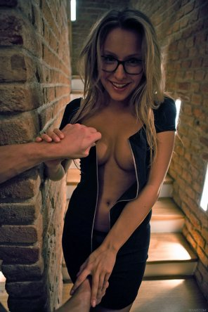 amateur photo Shy girl getting unzipped