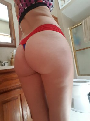 amateur photo Wife's ass eating up her thong.