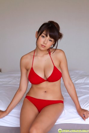 amateur photo Gorgeous Ai Shinozaki in red