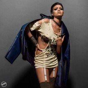 amateur photo Rihanna in ripped shirt