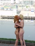 amateur photo Two russian girls in public place