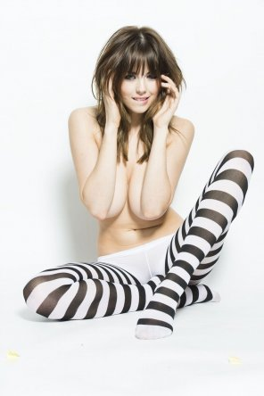 amateur photo Striped tights