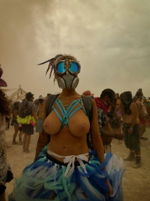 amateur photo Girl at burning man